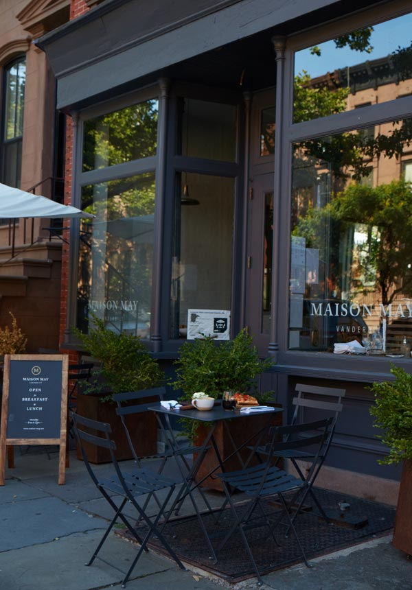 Coffee and farm to table food at Brooklyn cafe with outdoor seating