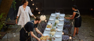 Lovely Maison May team serves farm to table food for outdoor wedding dinner