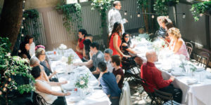 Intimate garden party at Maison May brownstone in Fort Greene
