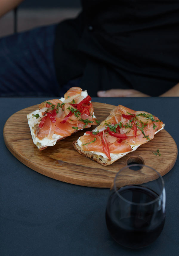 Tartines and natural wine at Maison May Vanderbilt cafe in Fort Greene