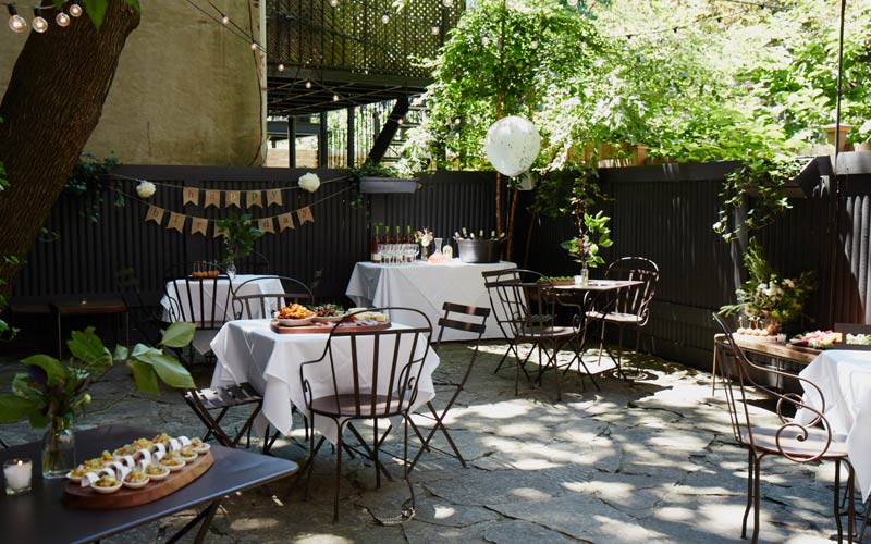 Brooklyn garden space perfect for private outdoor wedding receptions and showers