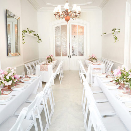 The Parlor Room at the Maison May Brownstone perfect for bridal showers