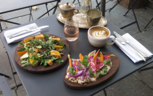 Gluten free farm to table food with outdoor seating at Maison May Vanderbilt